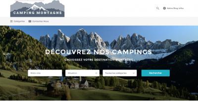 Karakter édite le site web Camping Montagne.  Création d'un site d'annuaire de Campings localisés en Montagne.  ➟Site web responsive ➟Optimisation du référencement naturel ➟Création d'un Blog ➟Création d'une page Facebook ➟Automatisation des articles sur les réseaux… Voir Plus